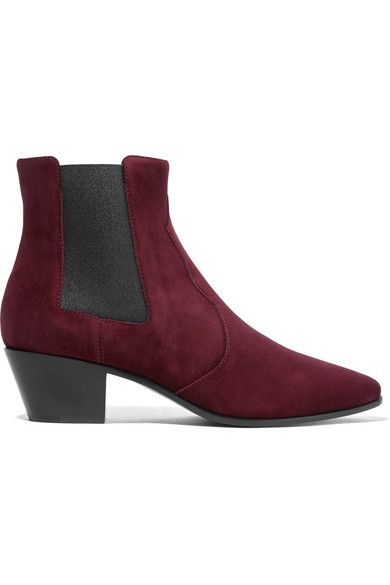 Heel measures approximately 40mm/ 1.5 inches Burgundy suede Pull on Made in Italy