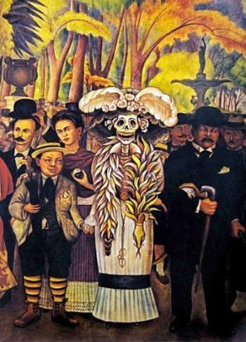 Catrina or Catrin is slang for elegant or well dressed and it refers to rich people. Thanks to Diego Rivera the Skeleton lady became an iconic image in Mexico's culture and is traditionally used in the Day of the Dead, especially in urban celebrations. Mexican artist Jose Guadalupe Posada and later Diego Rivera, captured in this skeleton lady the comfortable and intimate relationship Mexicans have with death.