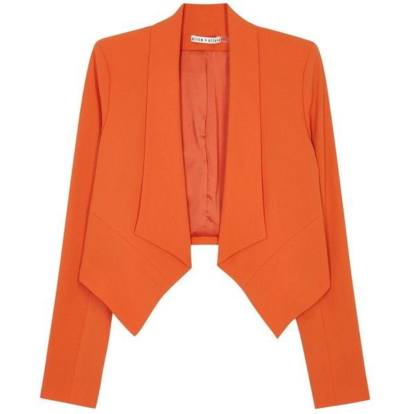 Womens Blazers Alice + Olivia Harvey Orange Crepe Blazer (9,985 MXN) ❤ liked on Polyvore featuring outerwear, jackets, blazers, blazer, giacche, orange blazer, orange blazer jacket, crepe jacket, drape front jacket and orange jacket