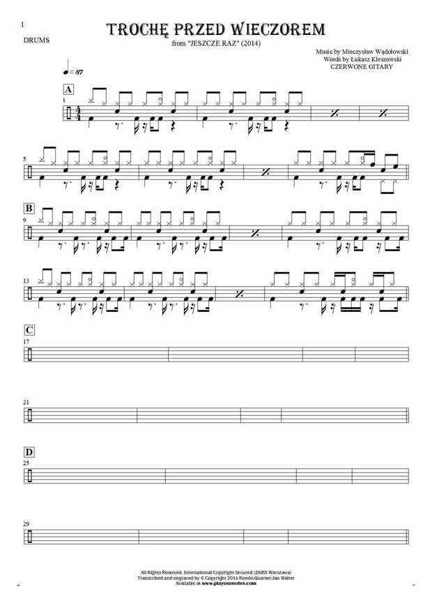 Trochę przed wieczorem - Czerwone Gitary. From album Jeszcze raz (2014). Part: Notes for drum kit