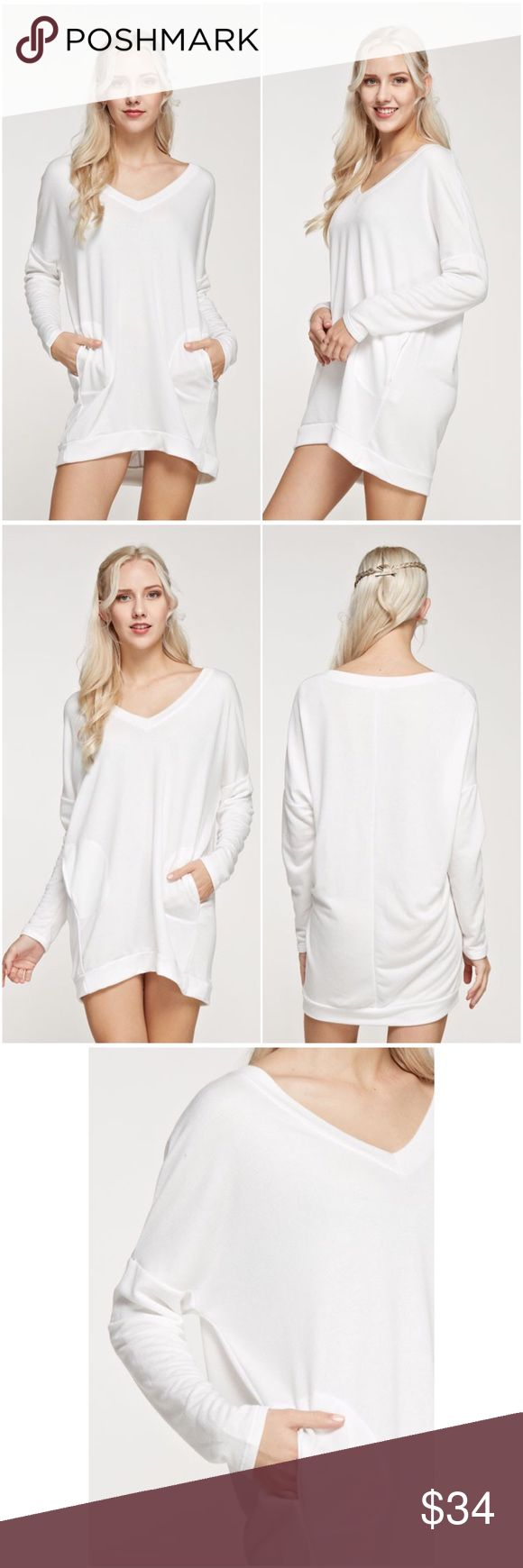 🆕 White French Terry Tunic Super comfy, white french terry tunic top that can be worn as a dress (as pictured) with v neckline and side pockets. Perfect for lounging or pair with your fave jeans or leggings for a casual look. Tops