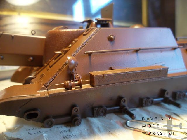 Initial rust colour base coat for the Tamiya 1/35 SU-122 tank. It's going to be ugly!