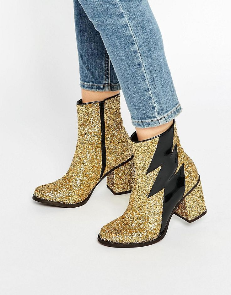 Image 1 of House of Holland Thunder Gold Glitter Heeled Ankle Boots