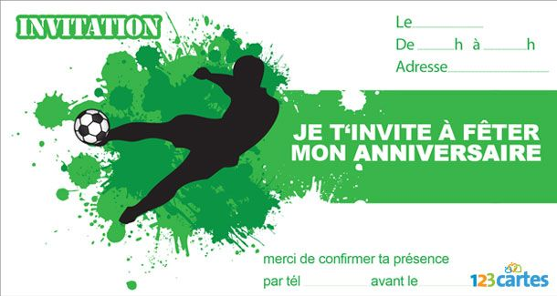 Invitation Anniversaire Football Tir Ballon Foot Party