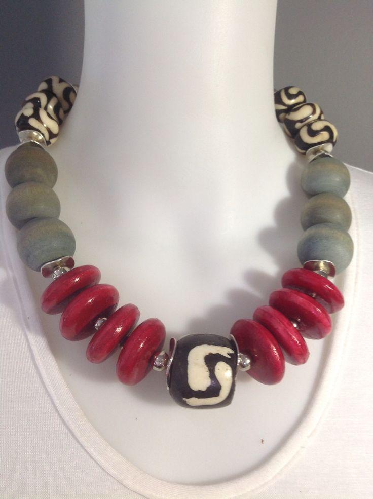 African tribal chunky choker: batik bone, red wooden discs and Matt grey wooden beads - Michela Rae