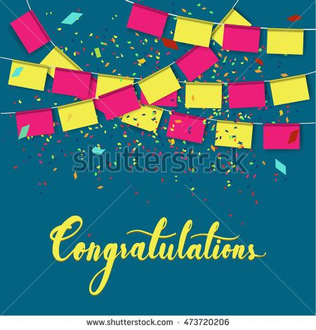 Congratulations word with modern hand writing calligraphic on blue background…