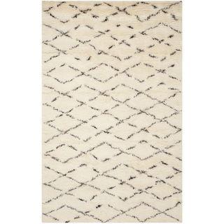 Safavieh Handmade Casablanca Moroccan Flokati Ivory Brown Wool Rug 4u0027 X 6u0027