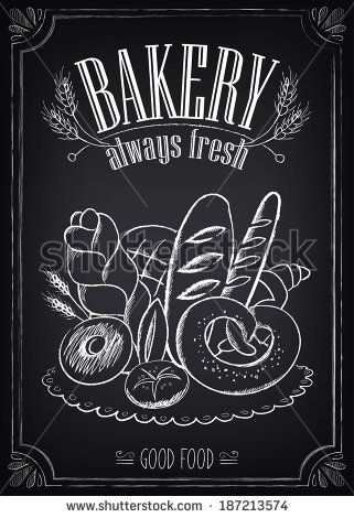 Vintage Bakery Poster. Freehand drawing on the chalkboard: bread and other pastries by Mary Ro, via Shutterstock