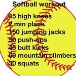 Softball workout. Great template for an at home workout #wirkoutideas #workout #softball