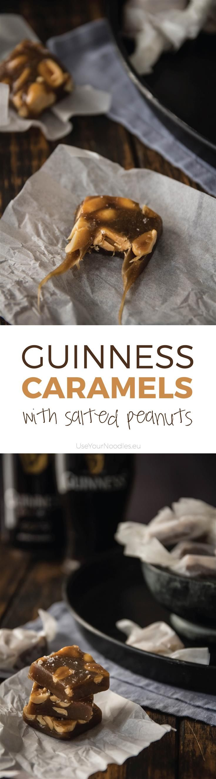 St Patrick's day is coming closer and we're making yummy gooey Guinness caramels with salted peanuts. If you don't know what to snack on while drinking beer - sweet or salty - you can have have both!