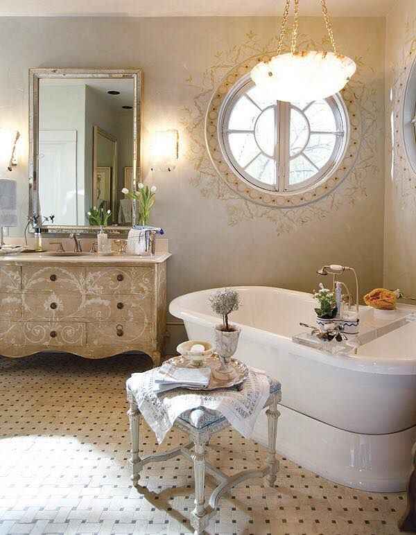 Contemporary Art Sites Round window in a shabby chic bathroom luxurious version of