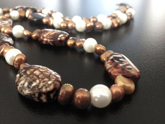 Handmade beaded necklace Mystic Agates with freshwater by BYTWINS, €60.00