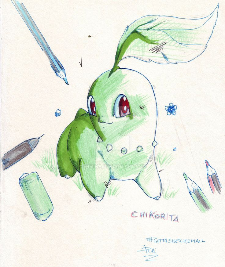 Chikorita- pokemon by eREIina.deviantart.com on @DeviantArt