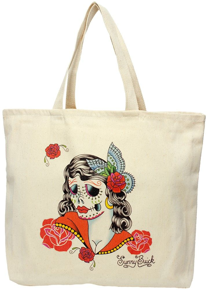 LADY SUGAR SKULL TOTE BAG  Tote your goods around in the lovely Lady Sugar Skull bag! This cotton tote features a Day of the Dead inspired skeleton lady designed by Sunny Buick.  $20.00