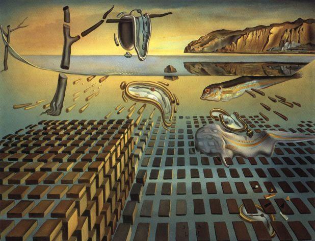 Salvador Dali >> La désintégration de la persistance de la mémoire, 1952-1954  |  (huile, reproduction, copie, tableau, oeuvre, peinture).