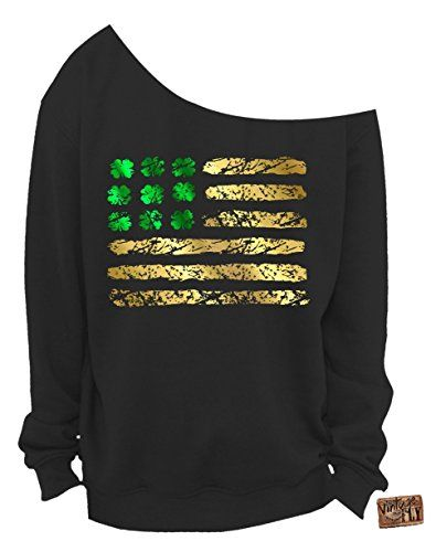 6bb32304 Vintage Fly Ladies St Patrick's Day Irish American Foil Flag Slouchy  Sweatshirt