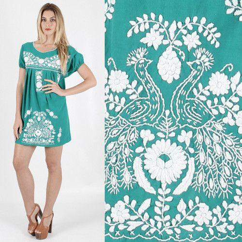 Vtg 70s Mexican Ethnic Embroidered Birds Boho Festival Tunic Draped Mini Dress | eBay