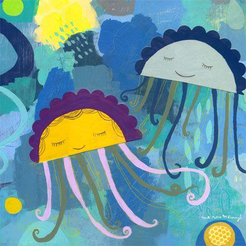 Cute Jellyfish by Oopsy daisy www.sweetretreatkids.com #sweetretreatkids #beachart #beachprint #oceanart #oceanprint #kidswallart #wallart #kidsjellyfish #jellyfishprint