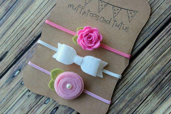 Felt headband set - newborn/baby/toddler headband - baby headband set - Pink and white