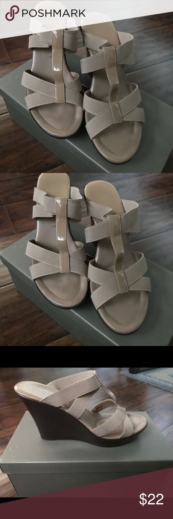 Charles David wedge heeled sandals size 8 Charles David wedge heeled 4 inch sandals size 8 in great condition. Elastic straps with patent leather strip down the middle. Slightly worn on right shoe on the toe area. Not even visible to naked eye. Very stylish. Charles David Shoes Sandals