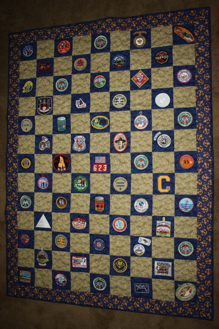 "2012 - ""This is a Scout Quilt I made for Kurt for his Eagle Court of Honor.  I included all his patches from both Cub Scouts and Boy Scouts.  Eleven years of memories!"" (from the quilter)"