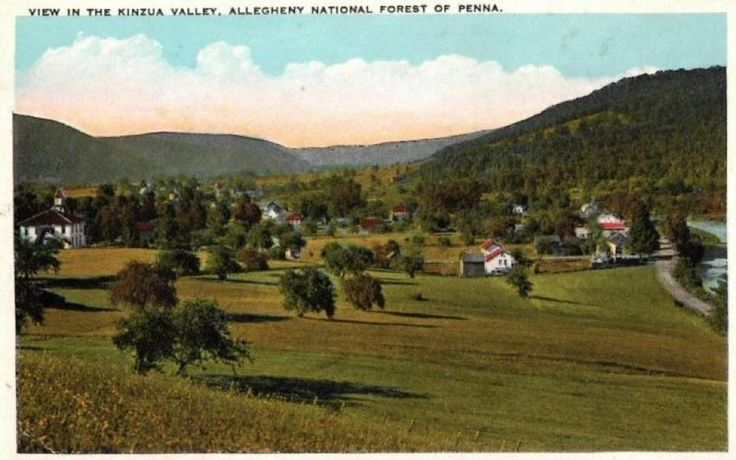 Kinzua, PA before it was flooded during the JFK administration to make the Allegheny Reservoir and Kinzua Dam.