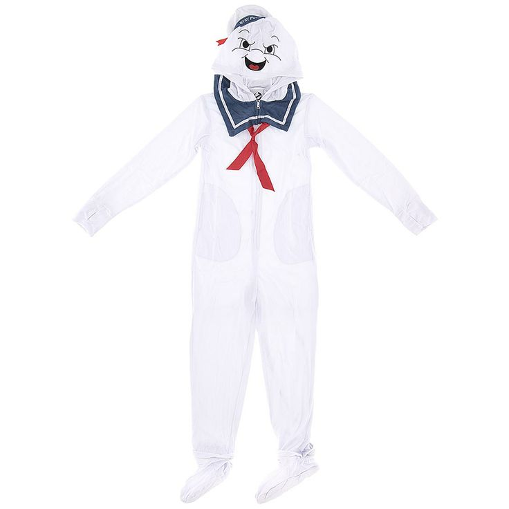 Stay Puft Marshmallow Man Footed Pajamas for Men - Footed Pajamas for Men.  If you love the 80's, anything retro or need a cool costume that are as comfy as pajamas, because they are pajamas, check out these footed and hooded stay puft marshmallow man pajamas.