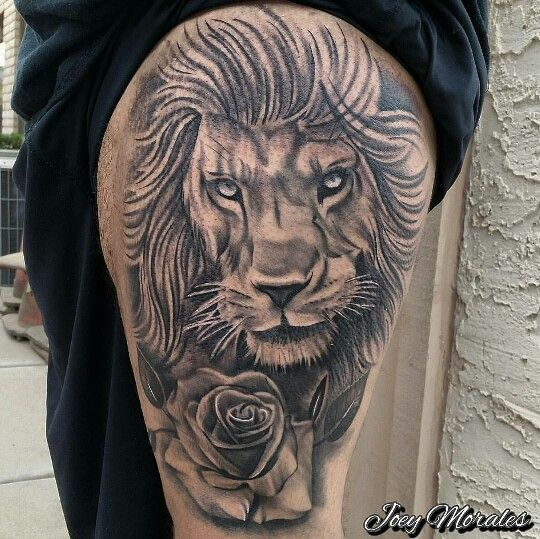 Tattoo Quotes Lion: Lion And Rose Tattoo By Joey Morales. IG: Joey_formiga