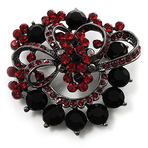Red & Jet-Black Diamante Corsage Brooch (Black Tone). Occasion: anniversary, christmas, cocktail party, going to theatre. Metal Finish: black tone. Gemstone: diamante. Theme: wreath. Type: crystal.