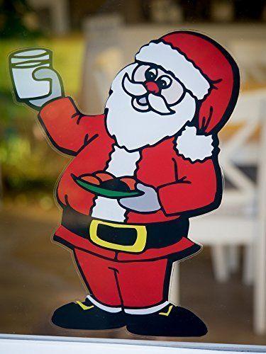 Christmas Window Decoration Santa Double Sided Window Cling 295mm x 238mm
