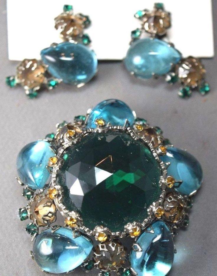 Aqua & Emerald Faceted Crystal Rhinestone Schreiner N.Y. Brooch & Earring Set! #SchreinerNewYork