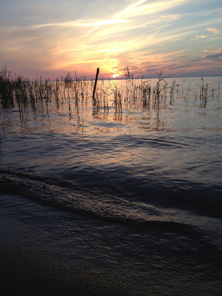 Sunset by the lake Vättern, Sweden