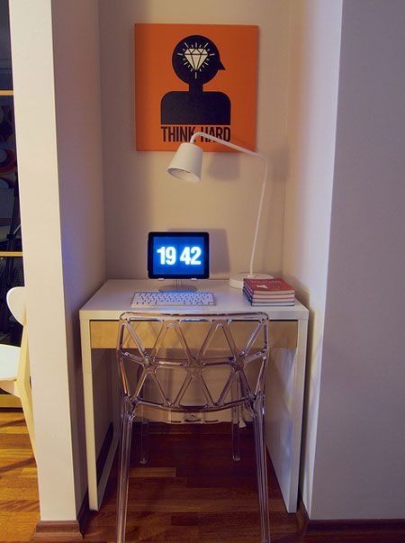 Unclutterer: Daily tips on how to organize your home and office. Worspace for samll space.