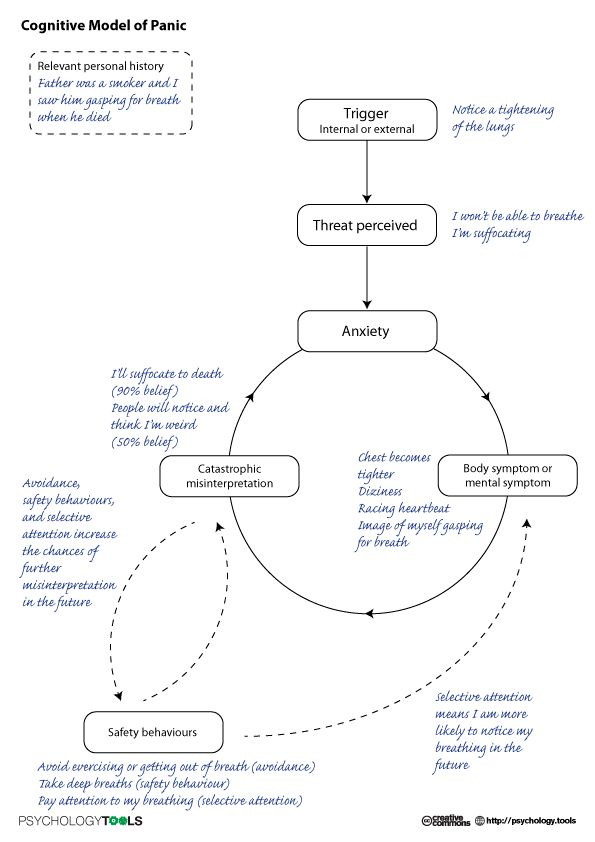 the cognitive model Clark (1986 p461) presents a cognitive model of panic disorder, the model details the symptoms which accompany panic attacks, for example, an intense feeling of apprehension or impending doom this sensation is accompanied by distressing physical sensations such as breathlessness.