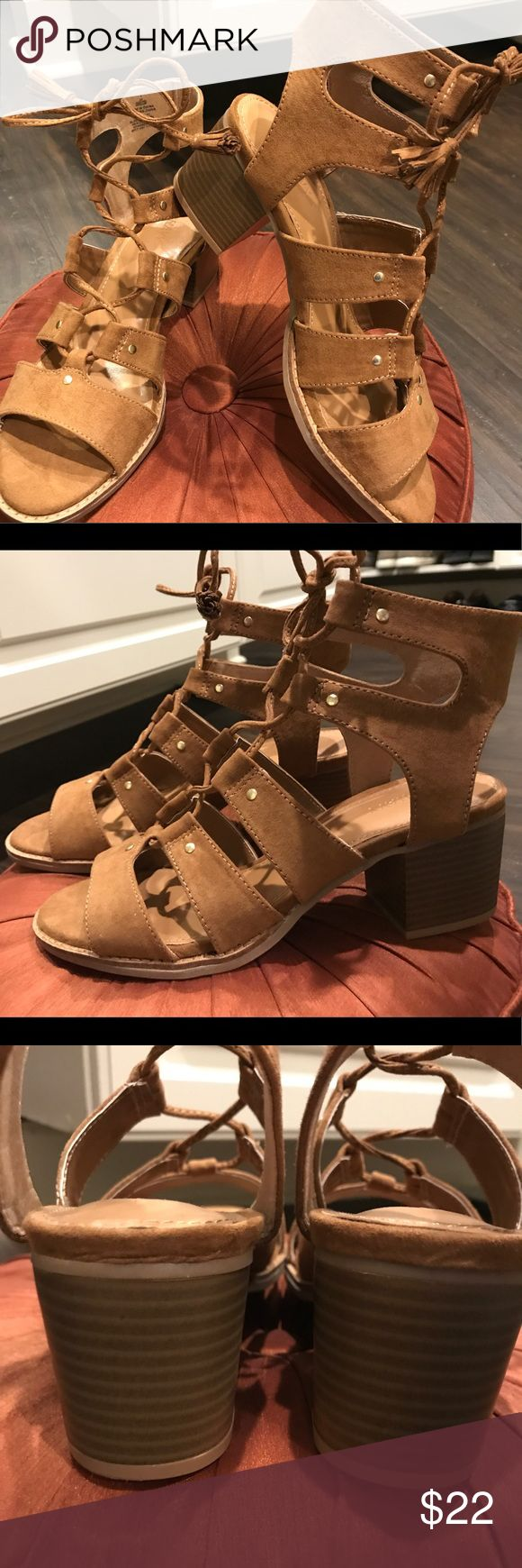 NEW Sz. 7 cognac suede tie sandals by Old Navy New, never worn tie up sandals by Old Navy. Size 7. (But I'm a 7 1/2 and they were fine) in cognac brown!! Perfect for summer and fall fashions! Old Navy Shoes