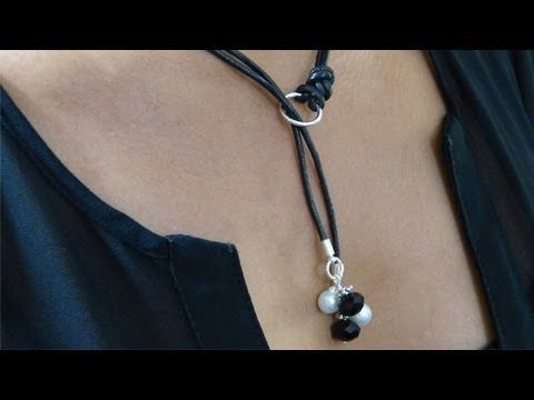 How to insert Faux Suede cord in Large Hole Freshwater Pearls - Multi use Pearl Lariat / Bracelet - YouTube