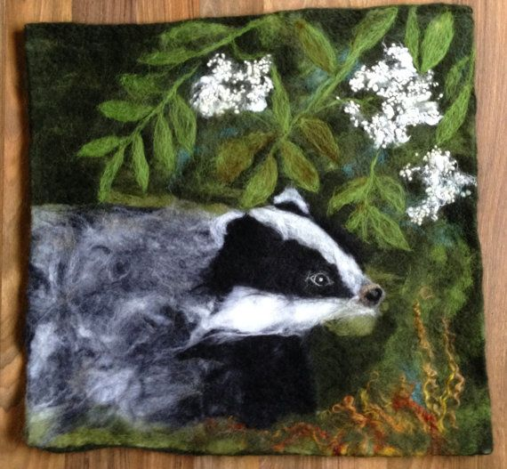 Broc / Badger Wet felted piece in a handcrafted frame. This piece is created in various fibres, wool, bamboo silk, wool nepps and comes in a