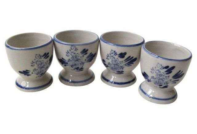 Blue & White Egg Cups, S/4
