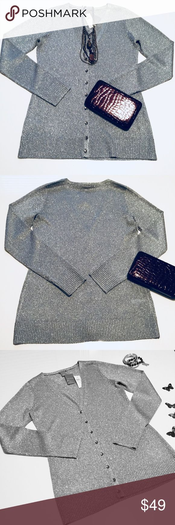 """🆕 Ann Taylor Silver Cardigan Sweater Size Medium 🆕 NWT Ann Taylor Silver Metallic Cardigan Sweater Size Medium.  Material: 79% Acetate, 11% Rayon, 20% Metallic. Hand Wash. Approximate measurements laying flat: Bust: 17.5"""", Length: 27.5"""", Sleeves: 26"""". 🚫 NO TRADES OR LOW BALL OFFERS🚫 A3 Ann Taylor Sweaters Cardigans"""