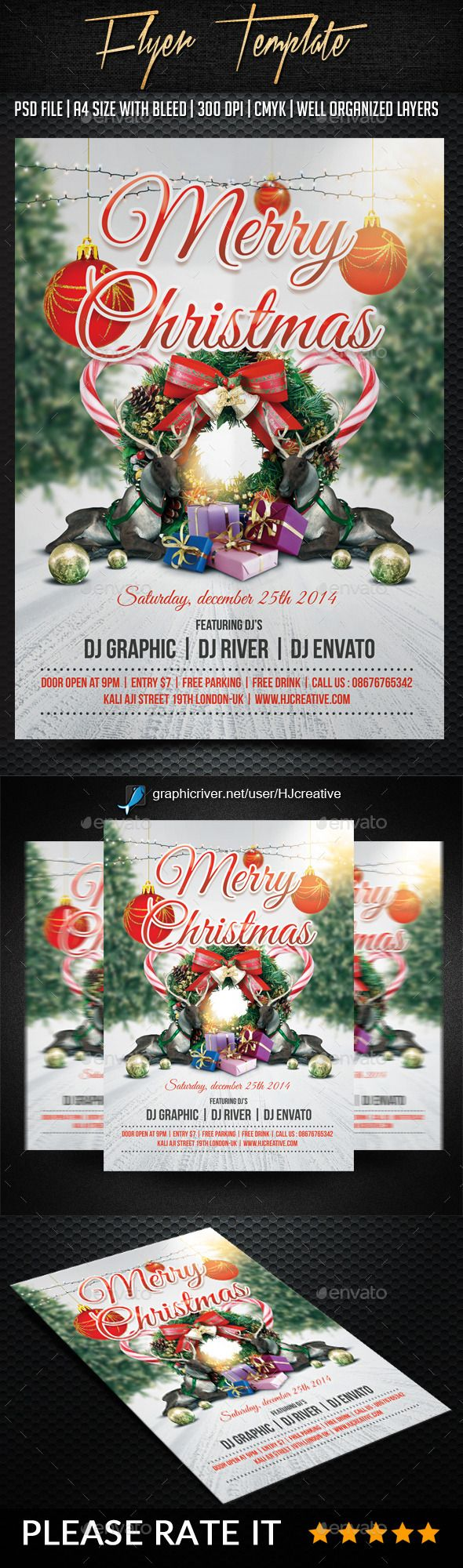 Free christmas poster design templates - Merry Christmas Poster Flyer Template Psd Design Xmas Download Http