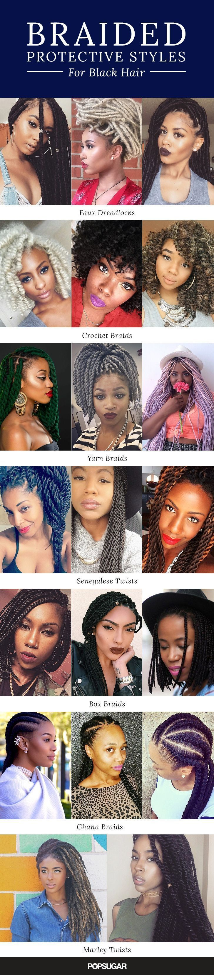 Looking for a new protective hairstyle for natural hair? These braids for black women add extensions for a longer-lasting style that's easy to maintain. There are twists, dreadlocks, crochet braids, Senegalese twists, box braids, Ghana braids, cornrows, and marley twists.