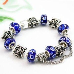 European Charms and Dark Blue Colored Glaze Beads Pandora Style Bracelet