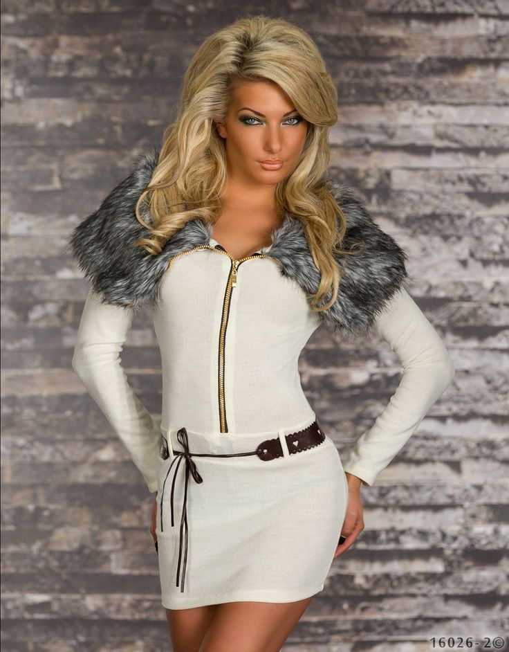 Sexy knitted MINI DRESS LONG SWEATER dress faux fur COLLARED JUMPER/TOP SZ 6,12 | eBay