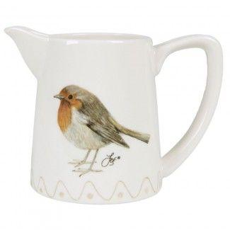 #Melkkannetje met illustratie van #roodborstje | #milk jug #robin | World Of Jet