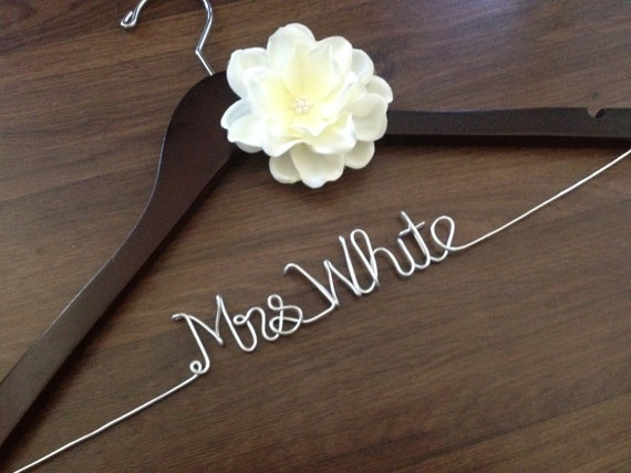 Wedding Dress Hanger Bride Last Name Mrs Personalized Bridesmaid Gift