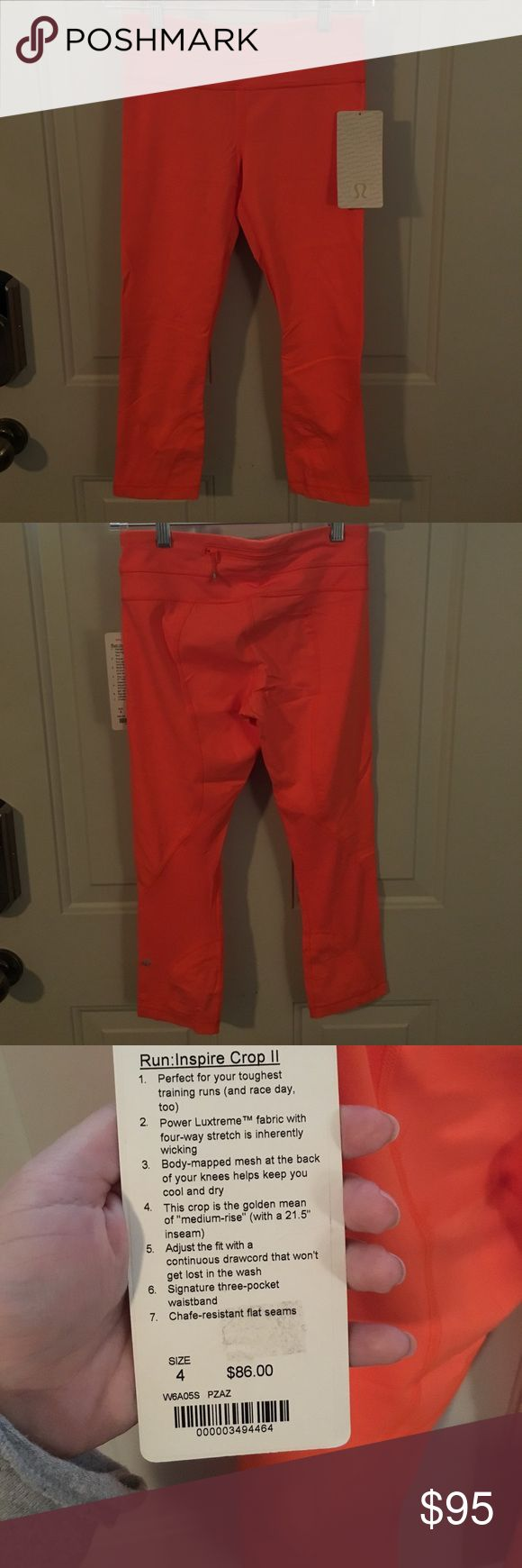 NWT Lululemon Run Inspire Crop II, 4 Brand new Run Inspires, no flaws. Size 4, color is orange pizzazz. Discontinued model but still a solid staple. 🚫No Trades, I have too many! 🔵Please use offer button. 🛍 bundle and save. Feel free to ask any questions!  Only stock photo I could find, fun color! lululemon athletica Pants Leggings