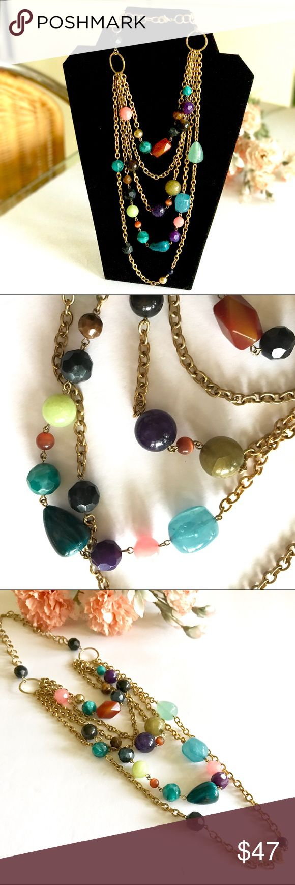 LISTING: Multi strand beaded chain necklace Beautiful long necklace hangs 34 inches total, lobster claw closure. Goldtone chain with multiple colored stone like beads. Gently pre-loved. Goes with so many outfits! Jewelry Necklaces