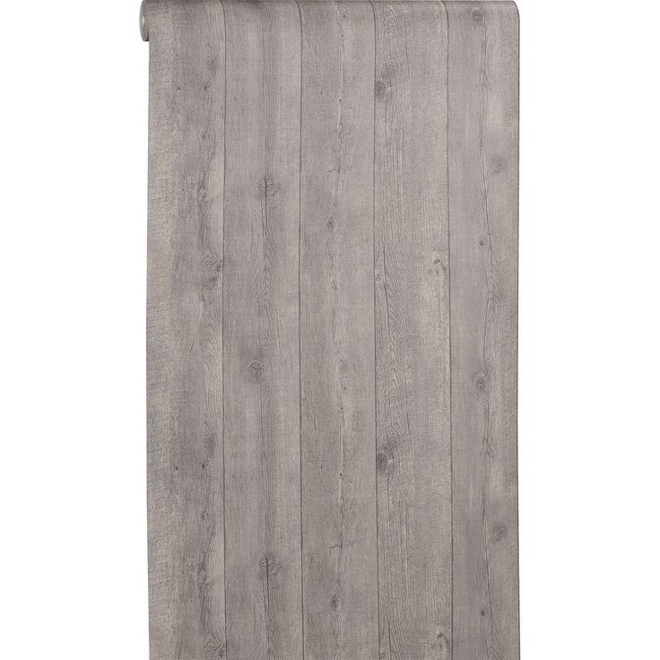 Vliesbehang Tigo is met zijn houtdessin een stijlvol behang, het laagje vinyl zorgt voor een extra touch met houtstructuur. Kleur: antraciet. #kwantum #behang #houtdessin