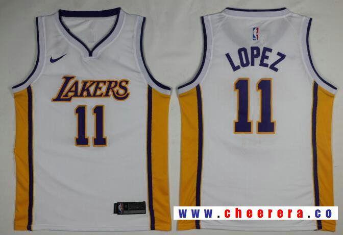 the best attitude 11ea6 e2b29 Men's Los Angeles Lakers #11 Brook Lopez New White 2017-2018 ...