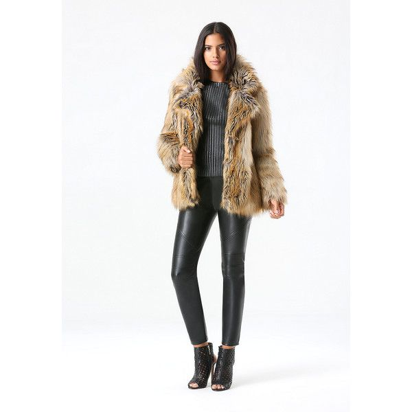 Glam Faux Fur Coat ($229) ❤ liked on Polyvore featuring outerwear, coats, white coat, long white coat, imitation fur coats, white faux fur coat and bebe